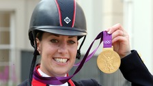 Charlotte Dujardin with the gold medal she won for individual dressage at London 2012