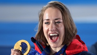 Lizzy Yarnold with the gold medal she won in the women's skeleton at the Winter Olympics in Sochi