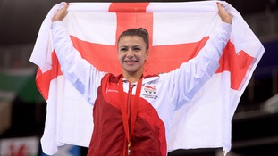 Claudia Fragapane with one of the four gold medals she won at the Commonwealth Games in Glasgow