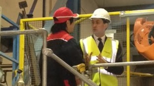 Ed Miliband visits Tetronics International in Swindon