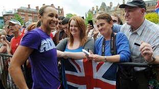Athlete Jessica Ennis meets fans during a civic send-off event in Sheffield city centre ahead of the London 2012 Olympic Games