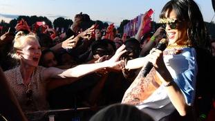 Rihanna performs at the Radio 1 Hackney Weekend at Victoria Park, Hackney, London.