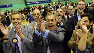 Nigel Farage and Ukip celebrated a second elected MP in the count at Medway Park in Gillingham.