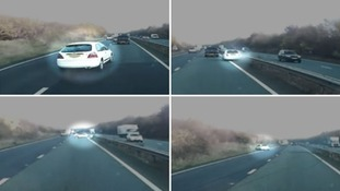 Witnesses' shock as undertaking driver spins out of control on busy dual-carriageway