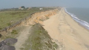 The sandy soil of the East Anglian coast is vulnerable to coastal erosion.