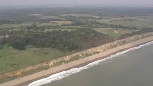 Cliffs along the East Anglian coast are constantly being eroded by the North Sea.