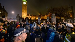 A view of the protesters in Parliament Square.