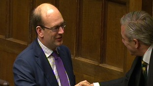 Ukip newest MP Mark Reckless is greeted by Commons Speaker John Bercow