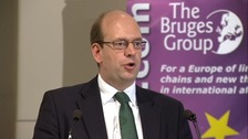 Ukip MP Mark Reckless addressing an audience at the Bruges Group.