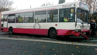 Damage to the bus in Toll End Road