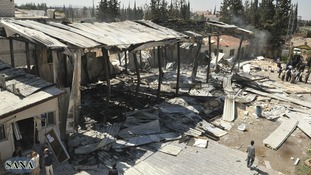 The aftermath of the attack at the Syrian television station.