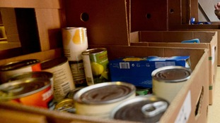 Food on the shelves of a food bank in SE London.