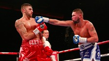 Tony Bellew in action with Nathan Cleverly in their WBO & WBA Intercontinental Cruiserweight Title fight