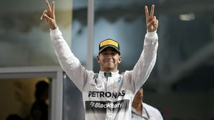 Mercedes Lewis Hamilton celebrates becoming World Champion after victory in the 2014 Abu Dhabi Grand Prix.