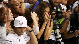 Nicole Scherzinger, girlfriend of Mercedes Lewis Hamilton, appears emotionall.
