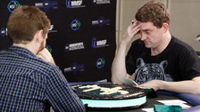 British Scrabble champion Craig Beevers winner against his opponent Chris Lipe from the USA.