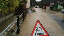 Flooded roads at Linton in Cambridgeshire on Sunday 23 November 2014.
