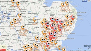 Location of flood warnings (red) and flood alerts (orange) at 7am on Monday Credit: Environment Agency