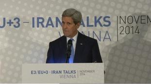 US Secretary of State John Kerry speaking in Vienna.