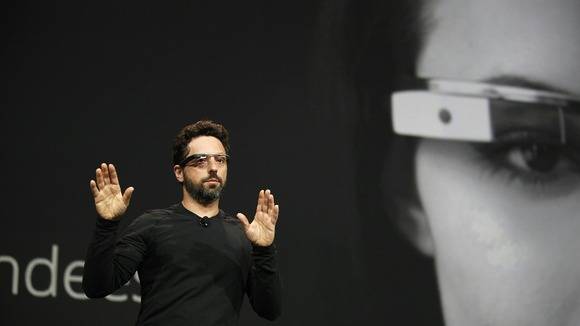 Sergey Brin, co-founder of Google, wears a Google Glass.
