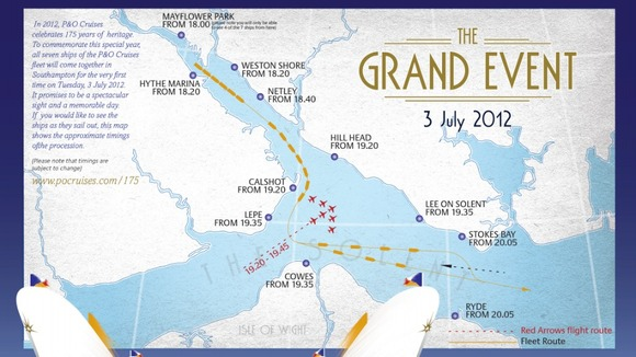 P & O Cruises 'The Grand Event' map map