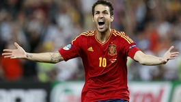 Spain midfielder Cesc Fabregas celebrates his winning penalty.