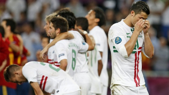 Portugal forward Cristiano Ronaldo reacts during the penalty shootout.