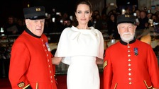Angelina Jolie with two Chelsea pensioners.