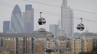 The cable car runs is between the ExCeLexhibition centre and the 02 arena at Greenwich in south London.