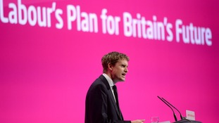 Shadow education secretary Tristram Hunt addresses the Labour Party annual conference in Manchester.