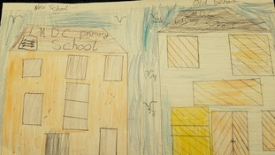 Students drawing of new and old schools
