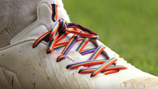 Rainbow laces worn in athlete's boots in support of anti-homophobia campaign