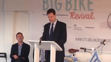 Nick Clegg at bike summit in Bristol