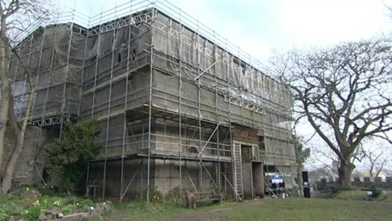 Scaffolding around Cardigan Castle