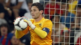France goalkeeper Hugo Lloris holds the ball during the quarter-final match against Spain in Donetsk.
