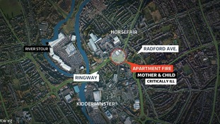 A map of the location of the fire in Kidderminster