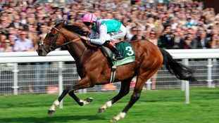 Frankel, ridden by Tom Queally, wins the Juddmonte International Stakes in 2012.