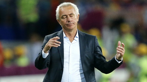 Dutch head coach Bert van Marwijk reacts during the Portugal group match in Kharkiv.