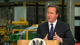David Cameron speaking about Europe this morning.