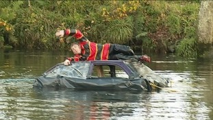 Cornwall Fire & Rescue Service re-enacts some of the worst consequences of driving through flood water