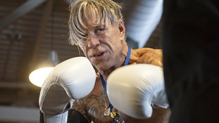 Actor Mickey Rourke seen during an open boxing training session.