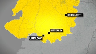 Map showing where the man was swept away in Bitterley neat Ludlow earlier today