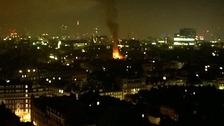 70 firefighters fight blaze as nine people are evacuated.