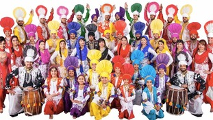 "The award-winning ""Gabhru Punjab De"" group in full costume."