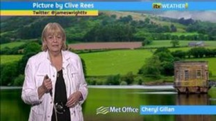 Cheryl Gillan presenting the ITV Wales weather forecast