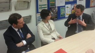 Chancellor George Osborne talks to Conservative MPs Chloe Smith for Norwich North and Peter Aldous for Waveney.