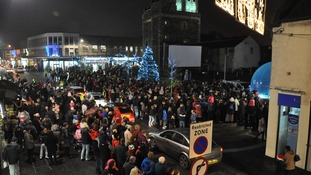 The Castle Square in Stranraer is packed with crowds as the Christmas lights were turned on on Saturday evening