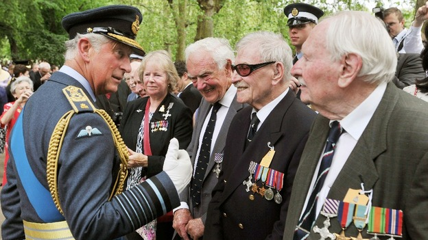 The Prince of Wales speaks with former members of WWII RAF Bomber Command.