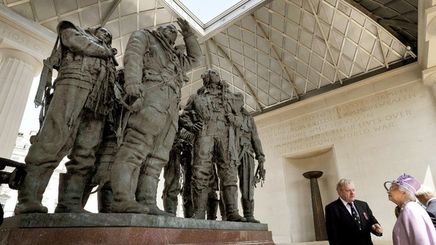 The Queen unveils the Bomber Command Memorial in Green Park, London.