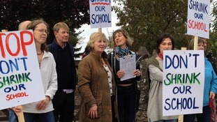 Parents protesting outside Chagford School in October